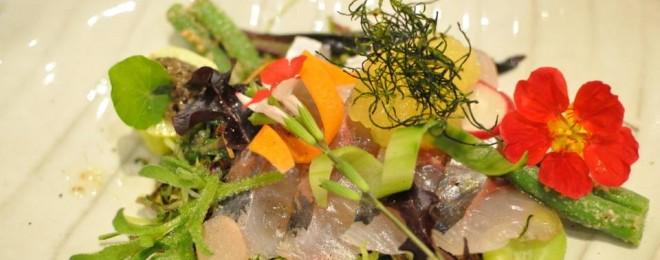 一本釣り真鯵サラダ仕立て