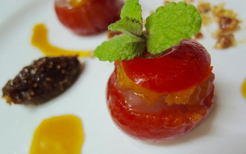 炭素循環農法 トマトのファルス カルダモン風味のわらび餅