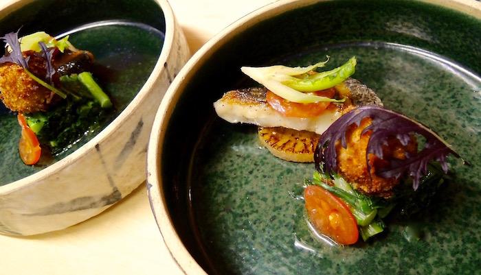 豊後水道黒ムツ 那珂川鱒の燻製のクネル 軽いバターソース
