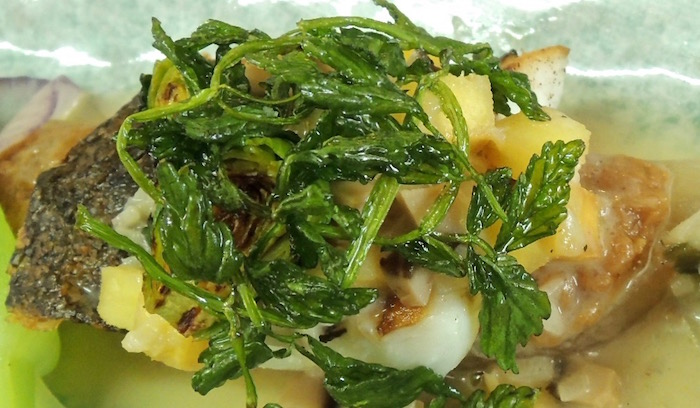 網代 天然いけ締め 平目 野菜の出汁の軽いバターソース