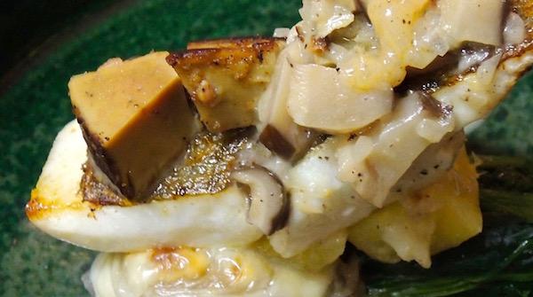 網代 カワハギ 干し椎茸とホタテのソース 肝のテリーヌとともに