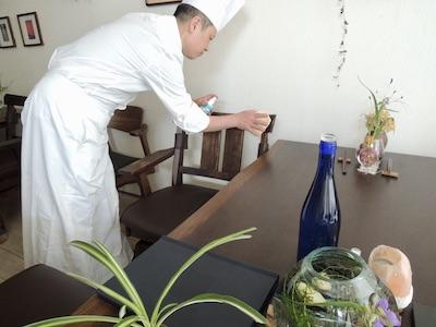 コロナ対策 椅子の清掃殺菌